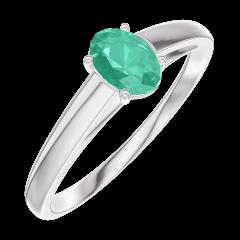 Bague Create Engagement 162104 Or blanc 9 carats - Émeraude Ovale 0.3 carat
