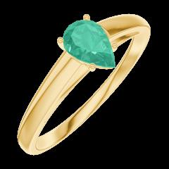 Bague Create Engagement 162202 Or jaune 9 carats - Émeraude Poire 0.3 carat