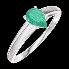 Bague Create Engagement 162204 Or blanc 9 carats - Émeraude Poire 0.3 carat