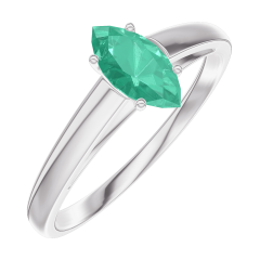 Bague Create Engagement 162304 Or blanc 9 carats - Émeraude Marquise 0.3 carat