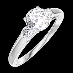 Bague Create Engagement 162423 Or blanc 18 carats - Diamant Rond 0.5 carat - Pierres de côté Diamant