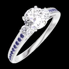 Bague Create Engagement 162435 Or blanc 18 carats - Diamant Rond 0.5 carat - Pierres de côté Diamant - Sertissage Saphir bleu