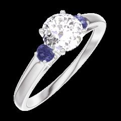 Bague Create Engagement 162463 Or blanc 18 carats - Diamant Rond 0.5 carat - Pierres de côté Saphir bleu