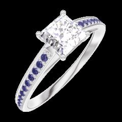 Bague Create Engagement 162515 Or blanc 18 carats - Diamant Princesse 0.5 carat - Sertissage Saphir bleu