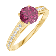 Bague Create Engagement 163006 Or jaune 9 carats - Rubis Rond 0.5 carat - Sertissage Diamant