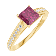 Bague Create Engagement 163106 Or jaune 9 carats - Rubis Princesse 0.5 carat - Sertissage Diamant