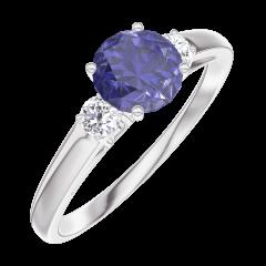 Bague Create Engagement 163624 Or blanc 9 carats - Saphir bleu Rond 0.5 carat - Pierres de côté Diamant