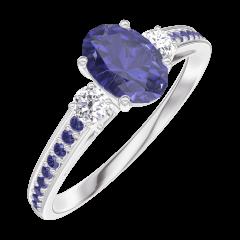 Bague Create Engagement 163936 Or blanc 9 carats - Saphir bleu Ovale 0.5 carat - Pierres de côté Diamant - Sertissage Saphir bleu