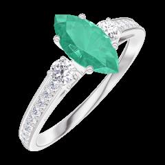 Bague Create Engagement 164728 Or blanc 9 carats - Émeraude Marquise 0.5 carat - Pierres de côté Diamant - Sertissage Diamant