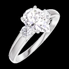 Bague Create Engagement 165223 Or blanc 18 carats - Diamant Poire 0.7 carat - Pierres de côté Diamant
