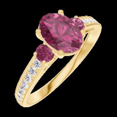 Bague Create Engagement 165746 Or jaune 9 carats - Rubis Ovale 0.7 carat - Pierres de côté Rubis - Sertissage Diamant