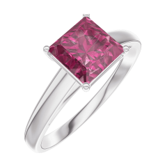 Bague Create Engagement 167904 Or blanc 9 carats - Rubis Princesse 1 carat