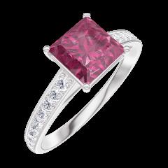 Bague Create Engagement 167908 Or blanc 9 carats - Rubis Princesse 1 carat - Sertissage Diamant
