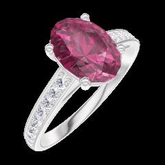 Bague Create Engagement 168108 Or blanc 9 carats - Rubis Ovale 1 carat - Sertissage Diamant