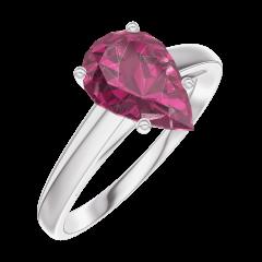 Bague Create Engagement 168204 Or blanc 9 carats - Rubis Poire 1 carat