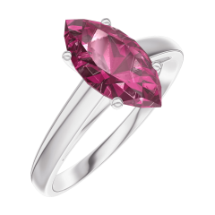 Bague Create Engagement 168304 Or blanc 9 carats - Rubis Marquise 1 carat