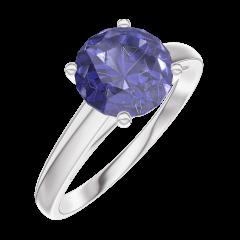 Bague Create Engagement 168404 Or blanc 9 carats - Saphir bleu Rond 1 carat