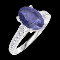 Bague Create Engagement 168728 Or blanc 9 carats - Saphir bleu Ovale 1 carat - Pierres de côté Diamant - Sertissage Diamant