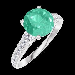 Bague Create Engagement 169027 Or blanc 18 carats - Émeraude Rond 1 carat - Pierres de côté Diamant naturel - Sertissage Diamant naturel