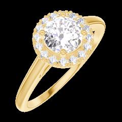 Bague Create Engagement 170001 Or jaune 18 carats - Diamant naturel Rond 0.5 carat - Halo Diamant naturel