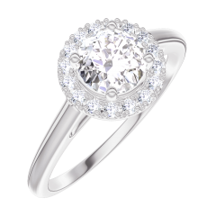 Bague Create Engagement 170003 Or blanc 18 carats - Diamant Rond 0.5 carat - Halo Diamant