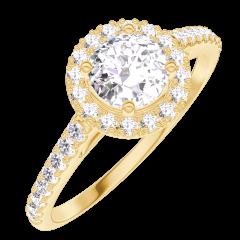 Bague Create Engagement 170005 Or jaune 18 carats - Diamant naturel Rond 0.5 carat - Halo Diamant naturel - Sertissage Diamant naturel