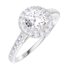 Bague Create Engagement 170008 Or blanc 9 carats - Diamant Rond 0.5 carat - Halo Diamant - Sertissage Diamant