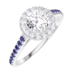 Bague Create Engagement 170015 Or blanc 18 carats - Diamant Rond 0.5 carat - Halo Diamant - Sertissage Saphir bleu
