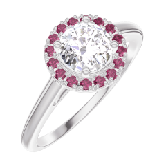 Bague Create Engagement 170019 Or blanc 18 carats - Diamant Rond 0.5 carat - Halo Rubis