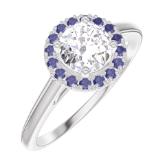 Bague Create Engagement 170035 Or blanc 18 carats - Diamant Rond 0.5 carat - Halo Saphir bleu