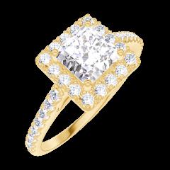 Bague Create Engagement 170053 Or jaune 18 carats - Diamant naturel Princesse 0.5 carat - Halo Diamant naturel - Sertissage Diamant naturel