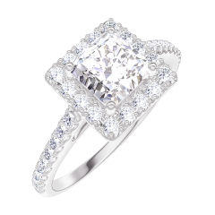 Bague Create Engagement 170055 Or blanc 18 carats - Diamant Princesse 0.5 carat - Halo Diamant - Sertissage Diamant
