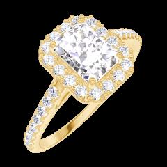 Bague Create Engagement 170101 Or jaune 18 carats - Diamant naturel Rectangle 0.5 carat - Halo Diamant naturel - Sertissage Diamant naturel