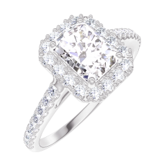 Bague Create Engagement 170103 Or blanc 18 carats - Diamant Rectangle 0.5 carat - Halo Diamant - Sertissage Diamant