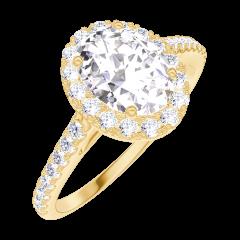 Bague Create Engagement 170149 Or jaune 18 carats - Diamant naturel Ovale 0.5 carat - Halo Diamant naturel - Sertissage Diamant naturel