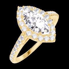 Bague Create Engagement 170245 Or jaune 18 carats - Diamant naturel Marquise 0.5 carat - Halo Diamant naturel - Sertissage Diamant naturel