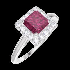 Bague Create Engagement 170340 Or blanc 9 carats - Rubis Princesse 0.5 carat - Halo Diamant
