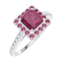 Bague Create Engagement 170360 Or blanc 9 carats - Rubis Princesse 0.5 carat - Halo Rubis - Sertissage Diamant