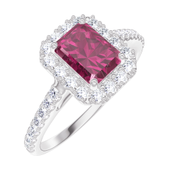 Bague Create Engagement 170392 Or blanc 9 carats - Rubis Rectangle 0.5 carat - Halo Diamant - Sertissage Diamant