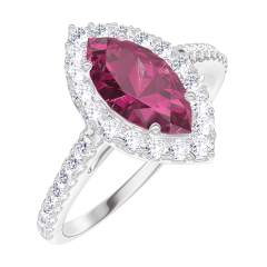 Bague Create Engagement 170536 Or blanc 9 carats - Rubis Marquise 0.5 carat - Halo Diamant - Sertissage Diamant