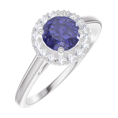 Bague Create Engagement 170580 Or blanc 9 carats - Saphir bleu Rond 0.5 carat - Halo Diamant