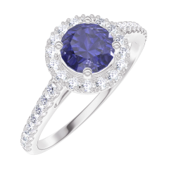Bague Create Engagement 170584 Or blanc 9 carats - Saphir bleu Rond 0.5 carat - Halo Diamant - Sertissage Diamant