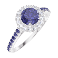 Bague Create Engagement 170592 Or blanc 9 carats - Saphir bleu Rond 0.5 carat - Halo Diamant - Sertissage Saphir bleu