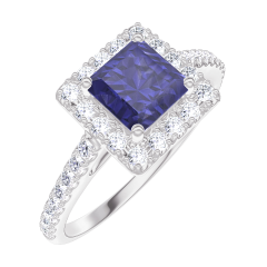 Bague Create Engagement 170632 Or blanc 9 carats - Saphir bleu Princesse 0.5 carat - Halo Diamant - Sertissage Diamant
