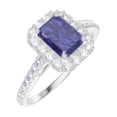 Bague Create Engagement 170680 Or blanc 9 carats - Saphir bleu Rectangle 0.5 carat - Halo Diamant - Sertissage Diamant