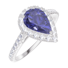 Bague Create Engagement 170776 Or blanc 9 carats - Saphir bleu Poire 0.5 carat - Halo Diamant - Sertissage Diamant