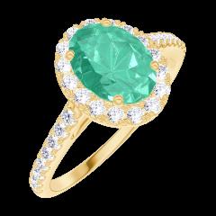 Bague Create Engagement 171013 Or jaune 18 carats - Émeraude Ovale 0.5 carat - Halo Diamant - Sertissage Diamant