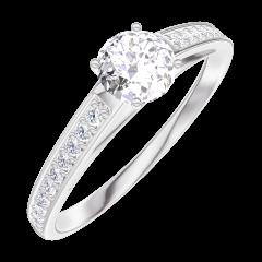 Creare Inel de Logodnă 160007 Aur alb 18 carate - Diamant natural Rotund 0.3 carate - Încrustare Diamant natural