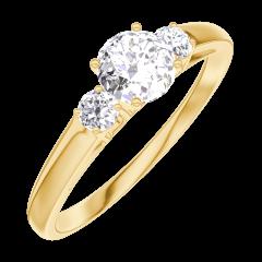 Creare Inel de Logodnă 160021 Aur galben 18 carate - Diamant natural Rotund 0.3 carate - Pietre laterale Diamant natural