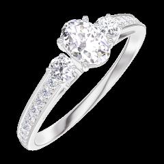Creare Inel de Logodnă 160327 Aur alb 18 carate - Diamant Oval 0.3 carate - Pietre laterale Diamant - Încrustare Diamant